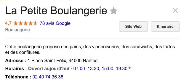 Affichage des horaires d'ouverture d'une boulangerie sur la base d'une recherche locale sur Google