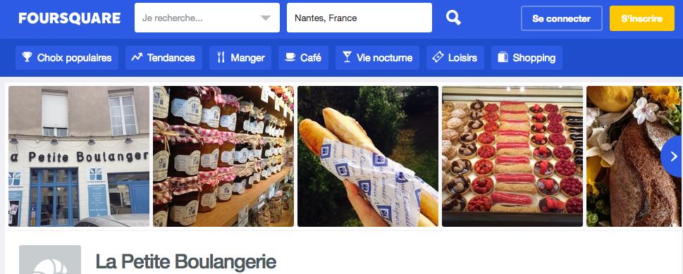 Affichage des photos d'une boutique recherchée sur Foursquare