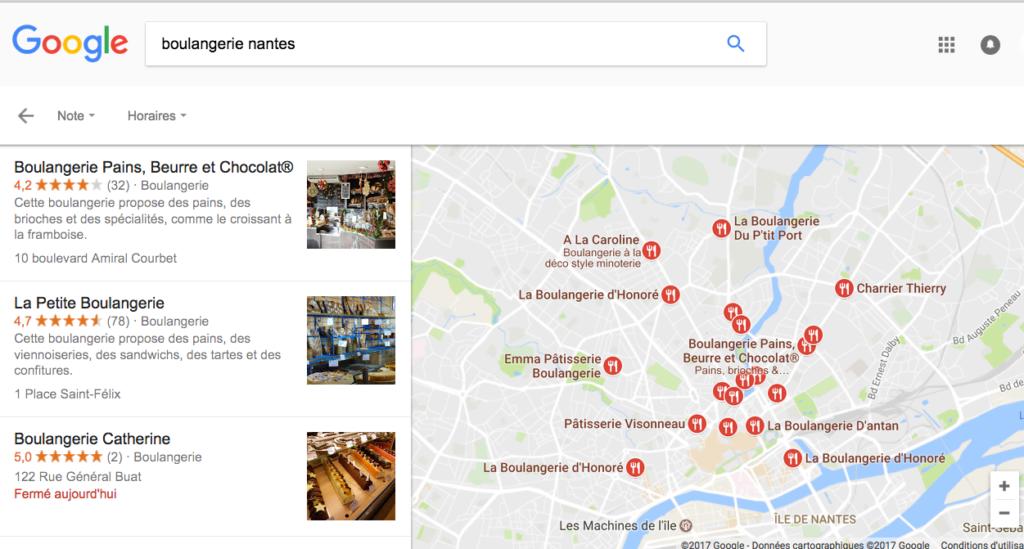 """Résultat de recherche localisée """"boulangerie nantes"""" sur Google"""