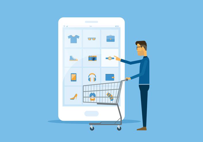 Un consommateur faisant ses courses via son mobile