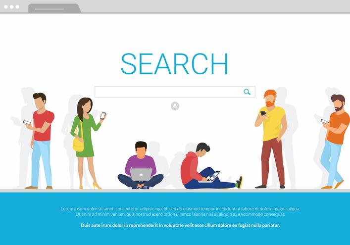 Des internautes recherchent des informations via des moteurs de recherche