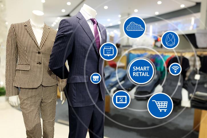 Un magasin de vêtements pour hommes avec réalité augmentée